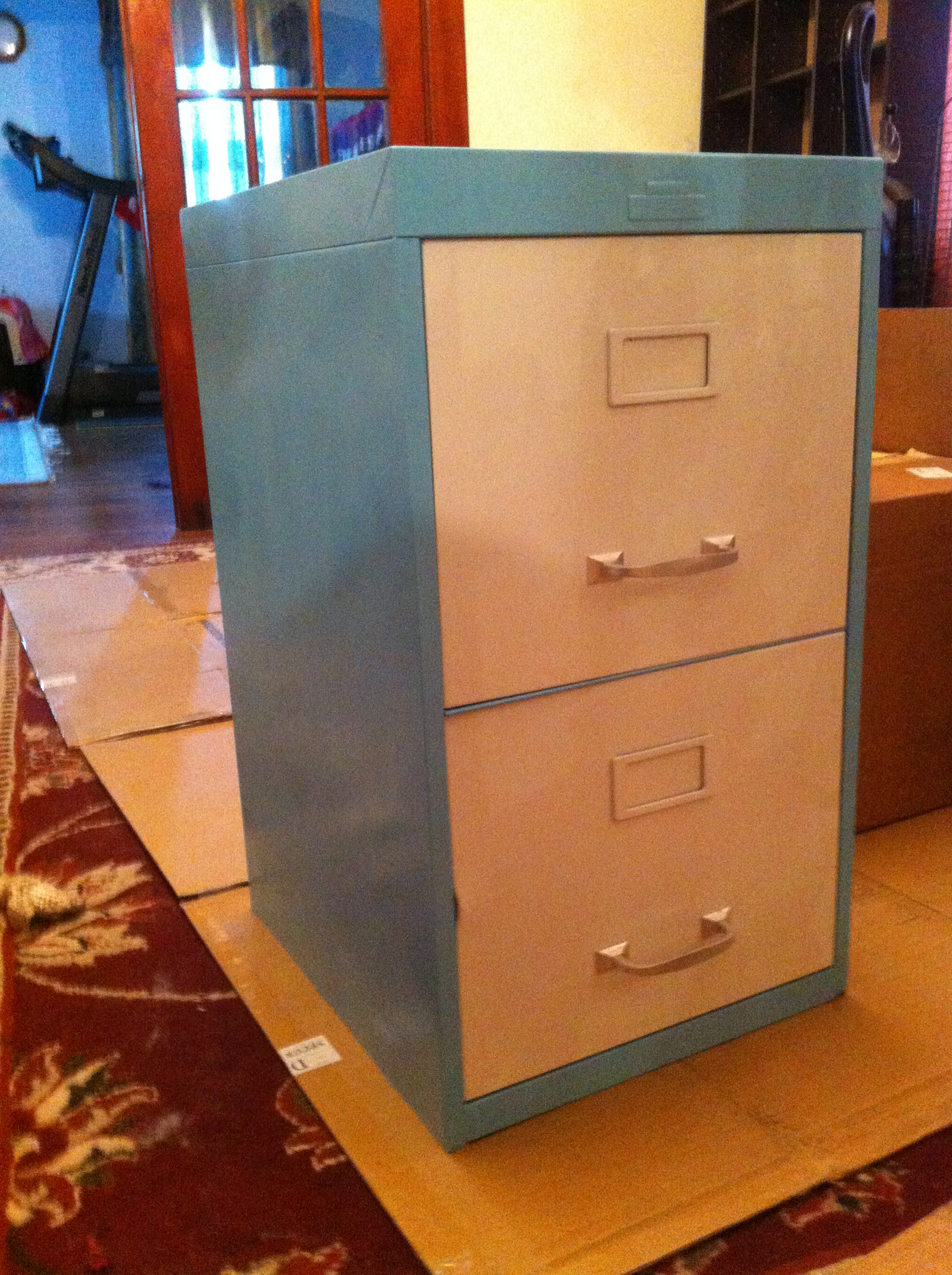 Turquoise file cabinets photo Upcycled metal filing cabinet